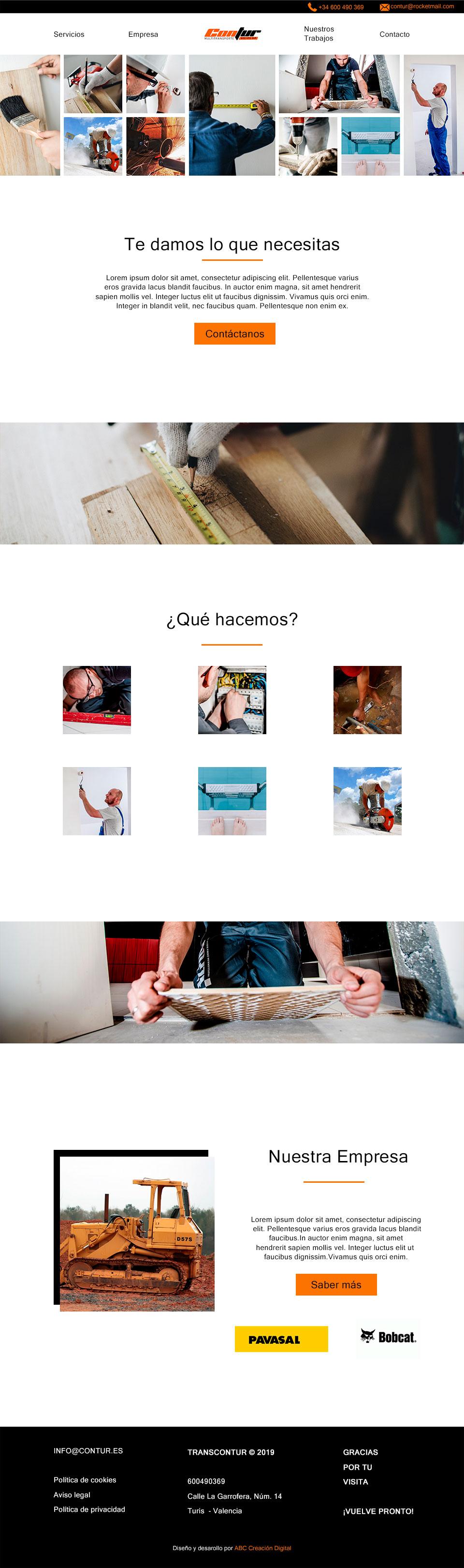 ABC Creación Digital. Web corporativa de Contur, construcción y transporte en Valencia